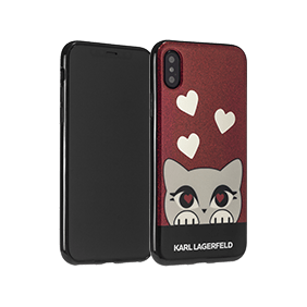 Чехол-накладка Lagerfeld Layer Choupette Valentine Glitter для Apple iPhone X (KLHCPXVDC)