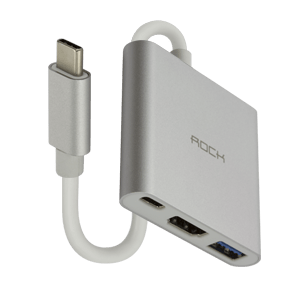 Многопортовый адаптер Rock Type-C to HDMI + USB + Type-C converter (RCB0480)